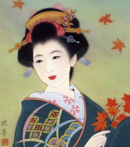Japanese Geisha in Fall Leaves