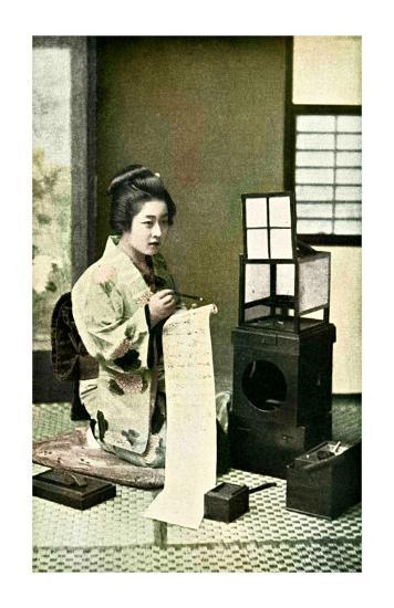 Japanese Geisha Writing Letter--Giclee Print