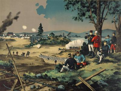 Japanese General Observes Battle with British Commanders--Art Print
