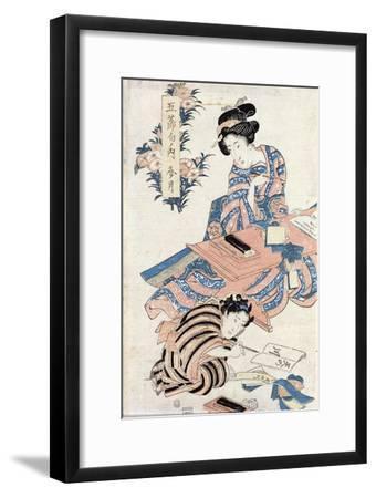 Japanese Girls Learning to Write--Framed Giclee Print