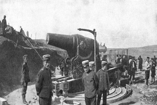 Japanese Howitzer Battery before Port Arthur, Russo-Japanese War, 1904-5--Giclee Print