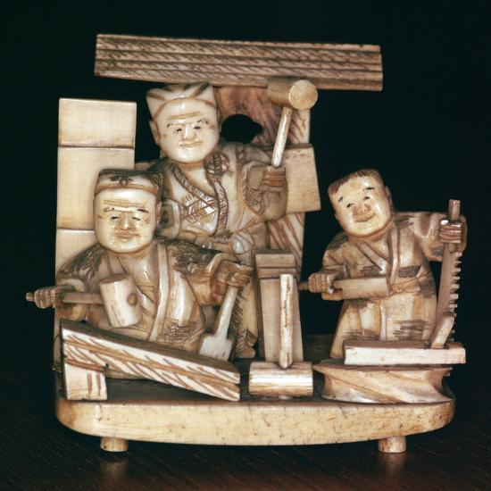 Japanese ivory of carpenters, 19th century. Artist: Unknown-Unknown-Giclee Print