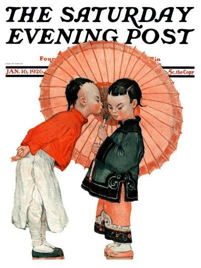 """""""Japanese Kiss,"""" Saturday Evening Post Cover, January 16, 1926-Henry Soulen-Giclee Print"""