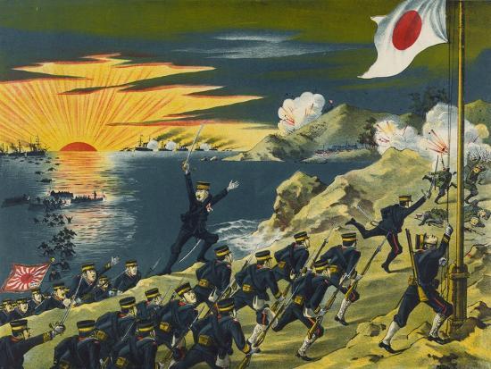 Japanese Land at Liaodong Peninsula, Russians Flee--Art Print