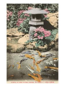 Japanese Lantern, Carp in Pond
