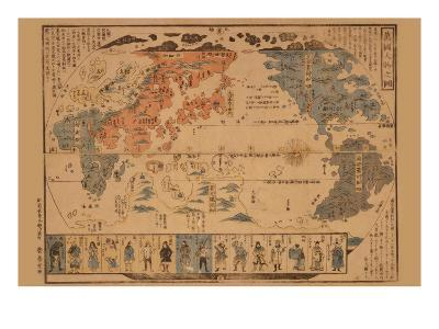 Japanese Map of the World; People of Many Nations--Art Print