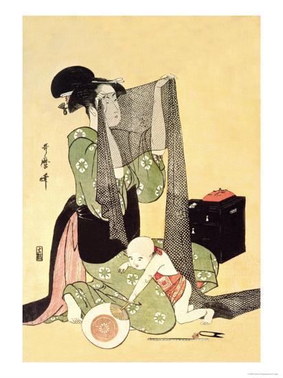 Japanese Mother and Child-Kitagawa Utamaro-Art Print