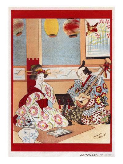 Japanese Music Scene, Magazine Plate, Japan, 1898--Giclee Print
