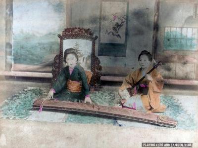 Japanese Music: Women Playing Koto and Samisen, Kobe, Japan--Giclee Print