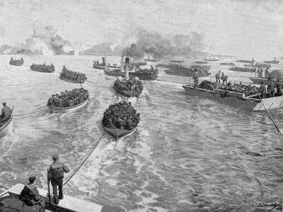 Japanese Naval Brigade Landing under Fire at Pitsewo, Russo-Japanese War, 1904-5--Giclee Print