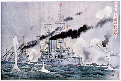 Japanese Naval Squadron Steaming to Bombard Port Arthur, Russo-Japanese War 1904-1905--Giclee Print