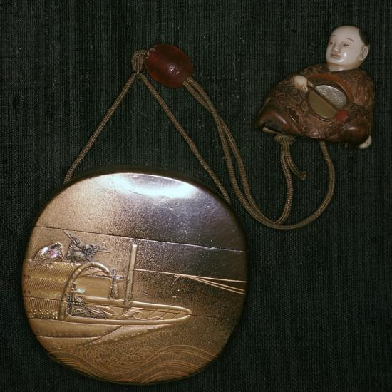 Japanese Netsuke and purse, 19th century. Artist: Unknown-Unknown-Giclee Print