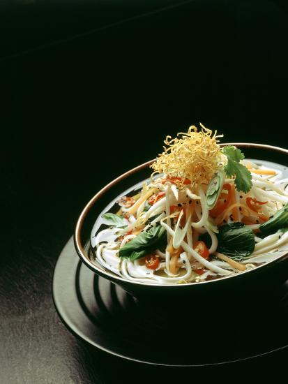 Japanese Noodle Soup (Miso Udon) with Fried Ginger-Frank Wieder-Photographic Print