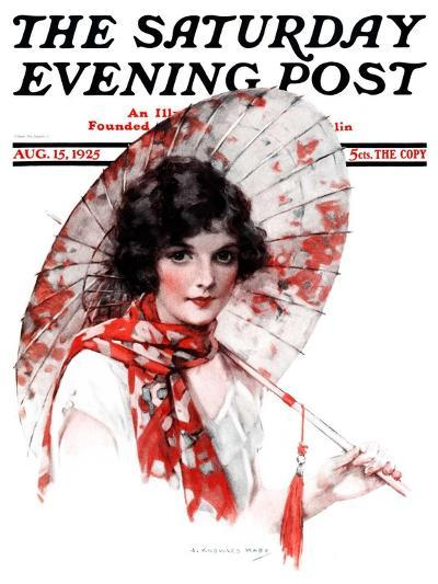 """Japanese Parasol,"" Saturday Evening Post Cover, August 15, 1925-J^ Knowles Hare-Giclee Print"