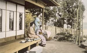 Ladies at Home (Hand Coloured Photo) by Japanese Photographer