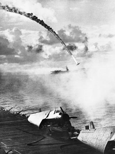 Japanese Plane Crashing in the Pacific--Photographic Print