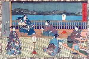Preparing Fish (Colour Woodcut) by Japanese