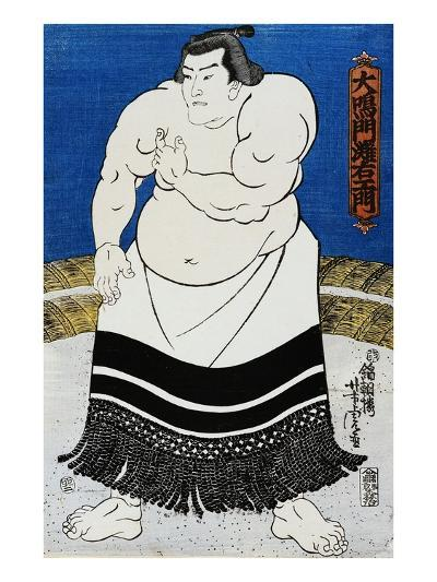 Japanese Print of a Sumo Wrestler Probably by Kunisada-Stefano Bianchetti-Giclee Print