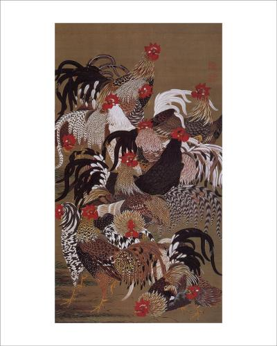 Japanese Rooster with Sunflower in Summer-Jyakuchu Ito-Giclee Print