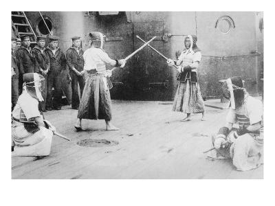 Japanese Sailors Fencing on Board Ship--Art Print