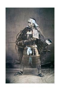 Japanese Samurai Warrior in Full Costume with Weapons, C.1880s