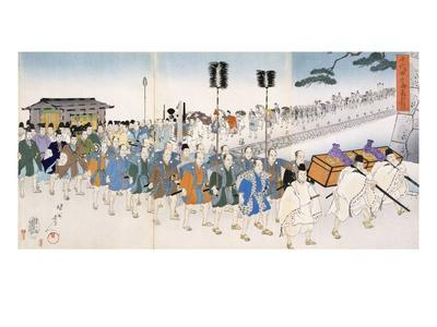 Samurai Warriors on the March (Colour Woodblock Print)