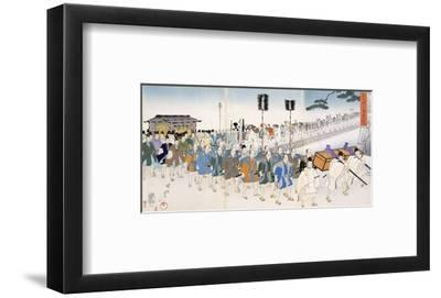 Samurai Warriors on the March (Colour Woodblock Print)