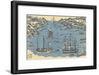 Bunkindo Print of Foreign Ships in the Port of Nagasaki, 1800-50