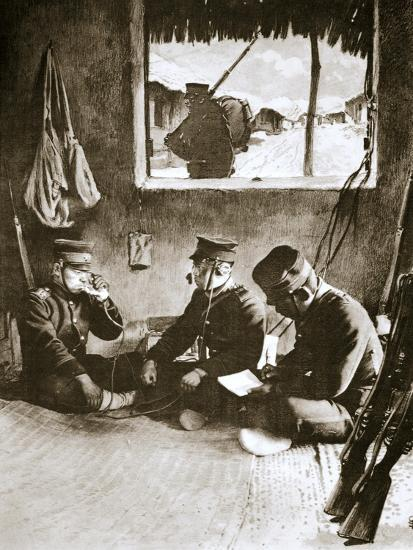 Japanese soldier making a telephone call, Russo-Japanese War, c1904-c1905-Unknown-Giclee Print