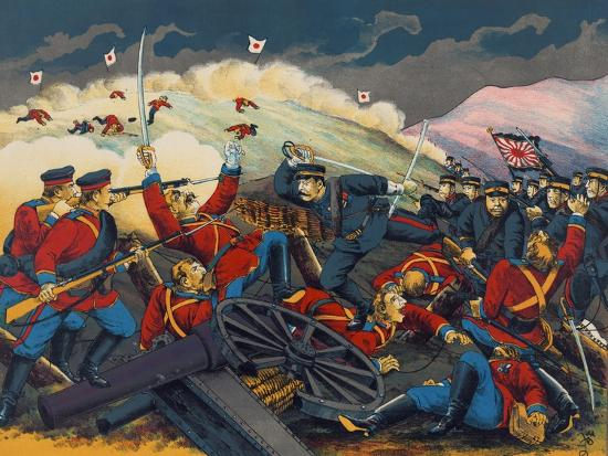 Japanese Soldier Overrun Russians at Fen-Shui Ling--Art Print
