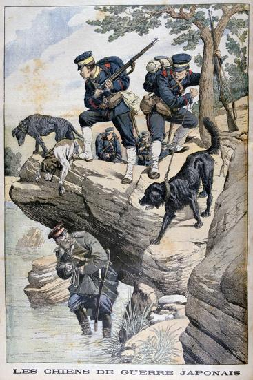Japanese Soldiers with Dogs Locate a Russian in Hiding, Russo-Japanese War, 1904--Giclee Print