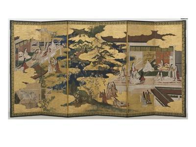 Spring in the Palace, Six-Fold Screen from 'The Tale of Genji', C.1650