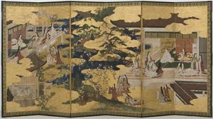 Spring in the Palace, Six-Fold Screen from 'The Tale of Genji', C.1650 by Japanese
