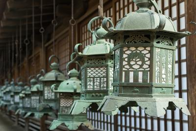 Japanese Style Bronze Lantern Hanging up in the Shrine of  Kasuga Taisha in Nara, Japan.-elwynn-Photographic Print