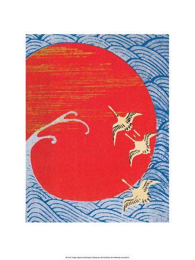 Japanese Textile Woodblock, Cranes Across Red Sun--Art Print