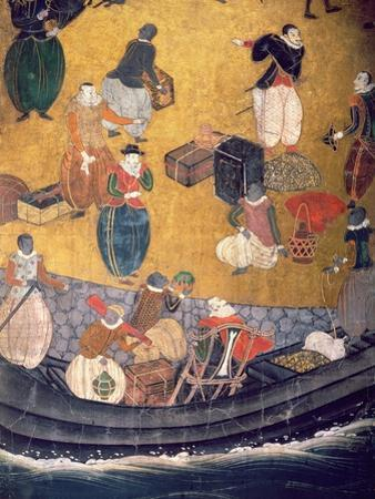 The Arrival of the Portuguese in Japan, Detail of Unloading Merchandise, from a Namban Byobu Screen
