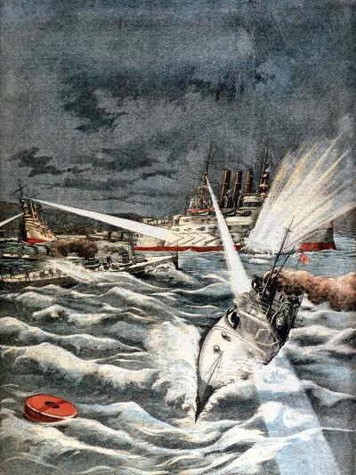 Japanese Torpedo Boats Making Surprise Attack, Russo-Japanese War, 1904--Giclee Print