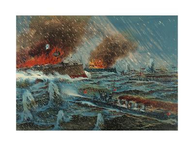 Japanese Torpedo Russian Ships--Art Print