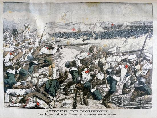 Japanese Troops Attacking Russian Trenches, Mukden, Manchuria, October 1904--Giclee Print