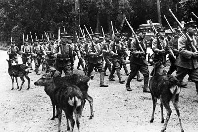 Japanese Troops Marching, C.1920-40--Photographic Print