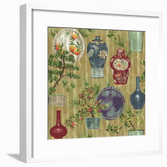 Japanese Vases Neutral1-Bill Jackson-Framed Giclee Print