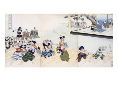Warlord Watches Samurai Practising their Swordplay (Colour Woodblock Print)