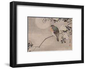 Japanese watercolor of bird perched on a branch of a blossoming tree