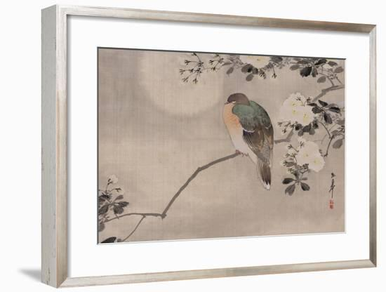 Japanese watercolor of bird perched on a branch of a blossoming tree--Framed Premium Giclee Print