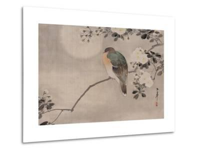 Japanese watercolor of bird perched on a branch of a blossoming tree--Metal Print