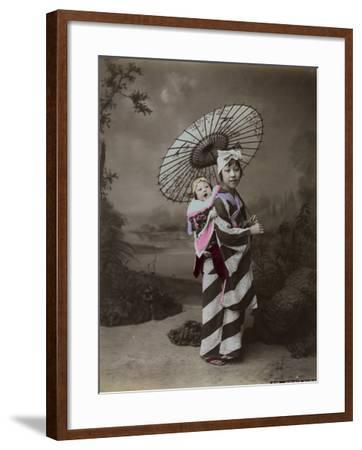 Japanese Woman Carrying Baby on Her Back--Framed Photographic Print