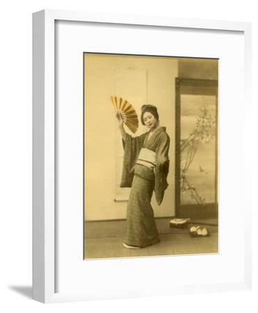 Japanese Woman in Kimono with Fan