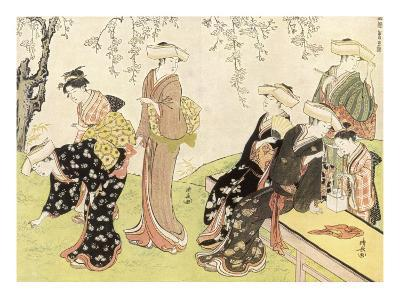 Japanese Women Gathering Flowers--Giclee Print
