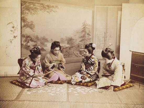 Japanese Women Playing Cards, C.1867-90-Felice Beato-Photographic Print