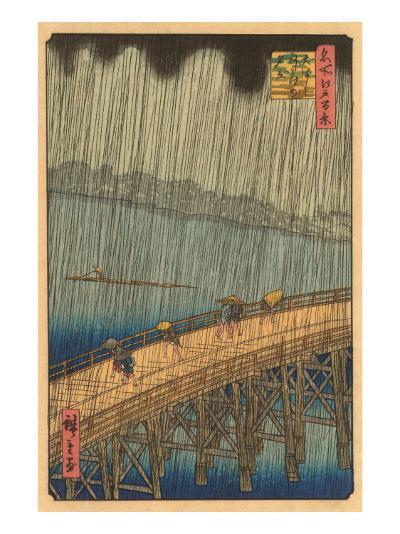 Japanese Woodblock, Crossing Bridge in Rain--Art Print